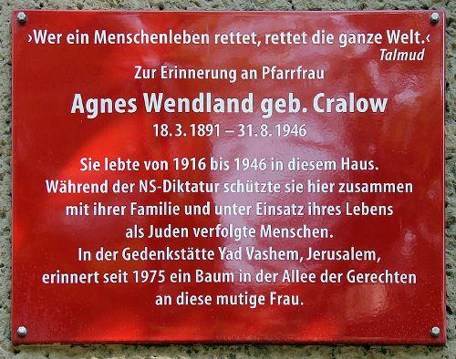 Plaque Agnes Wendland