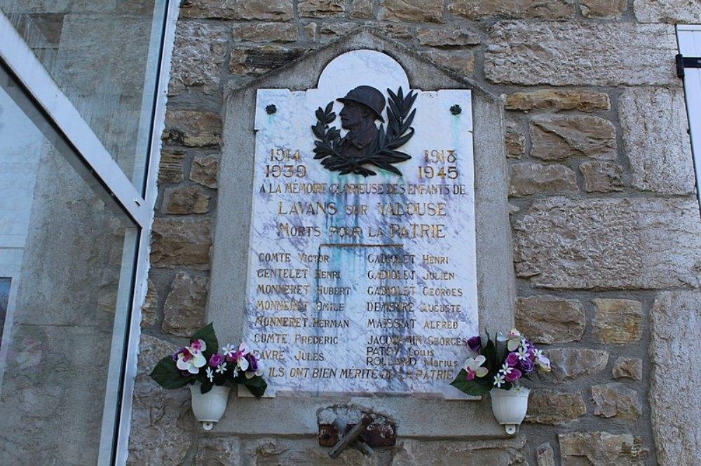 World War I Memorial Lavans-sur-Valouse