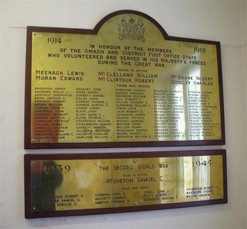 Oorlogsmonument Omagh and District Post Office Staff
