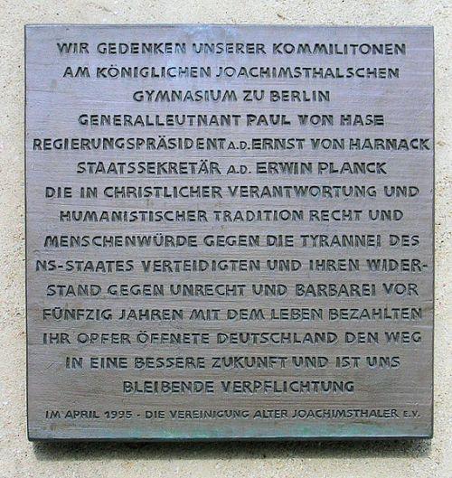 Plaquette Joachimsthalsches Gymnasium