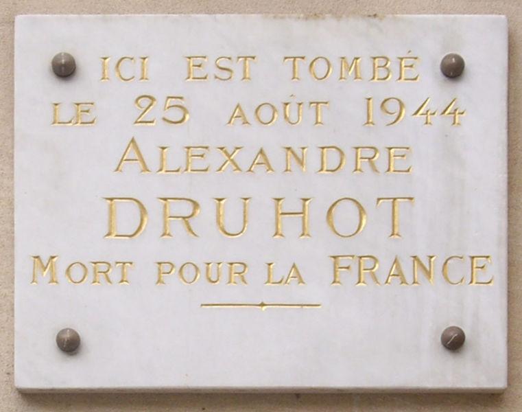 Plaquette Alexandre Druhot
