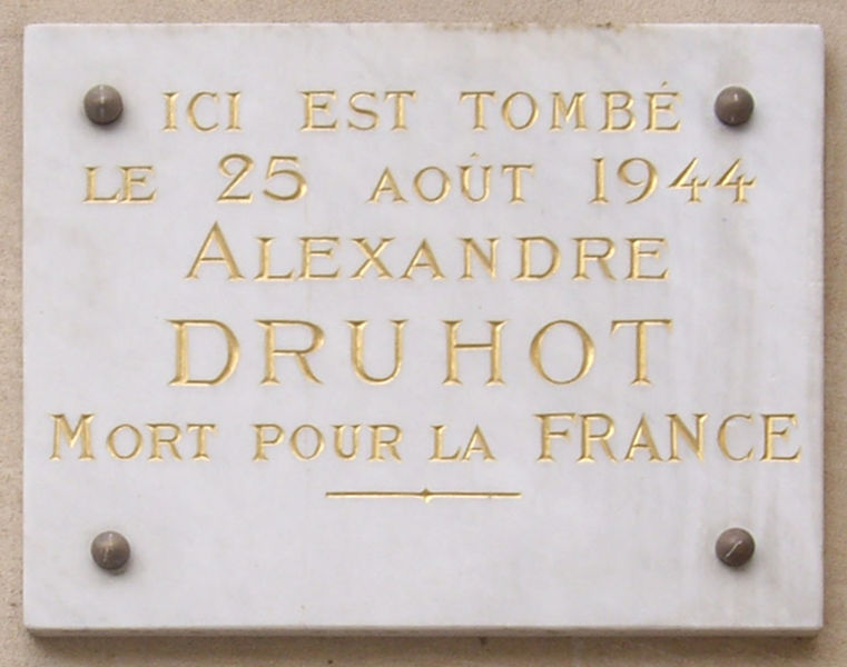Plaque Alexandre Druhot
