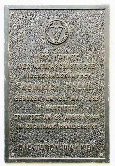 Plaque Heinrich Preuß