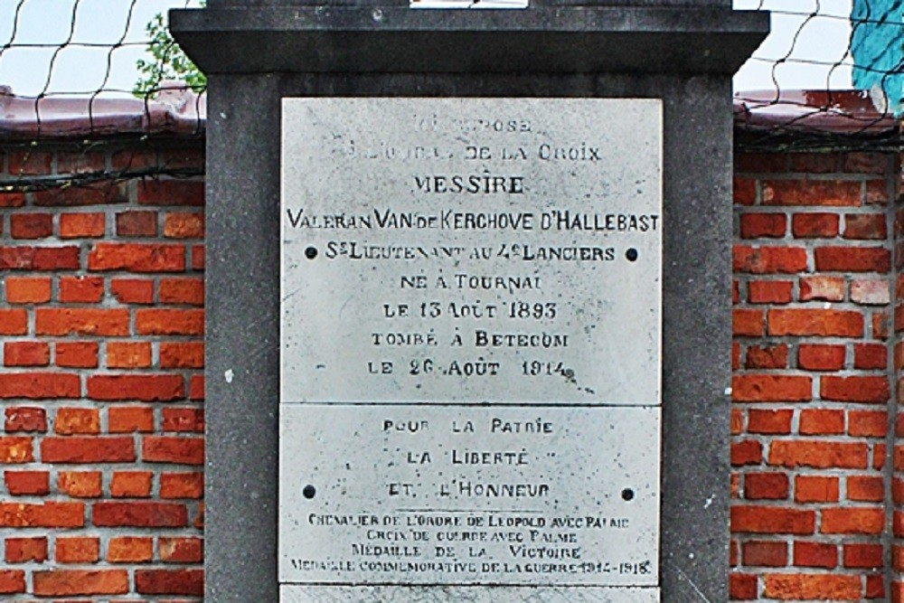 Tomb Lieutenant Valeran Van De Kerchove D 'Hallebast