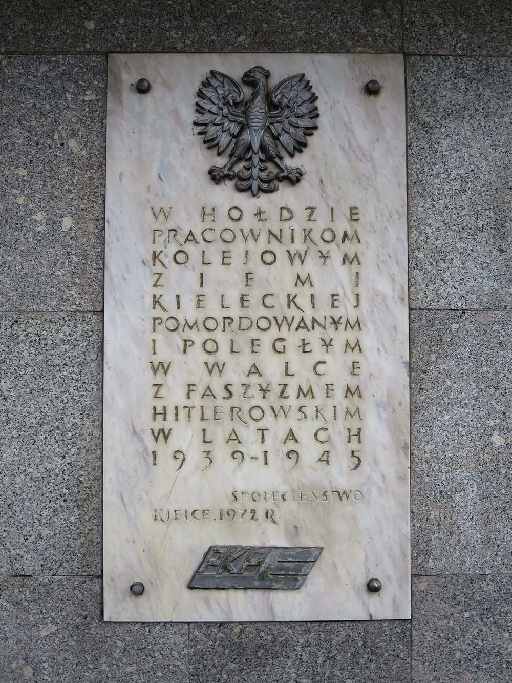 Plaque Railway Workers Kielce 1939-1945