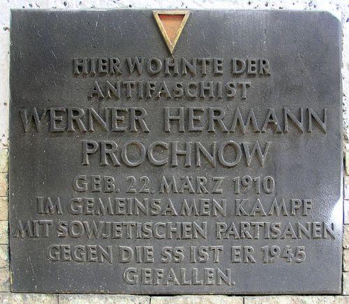 Plaque Werner Hermann Prochnow