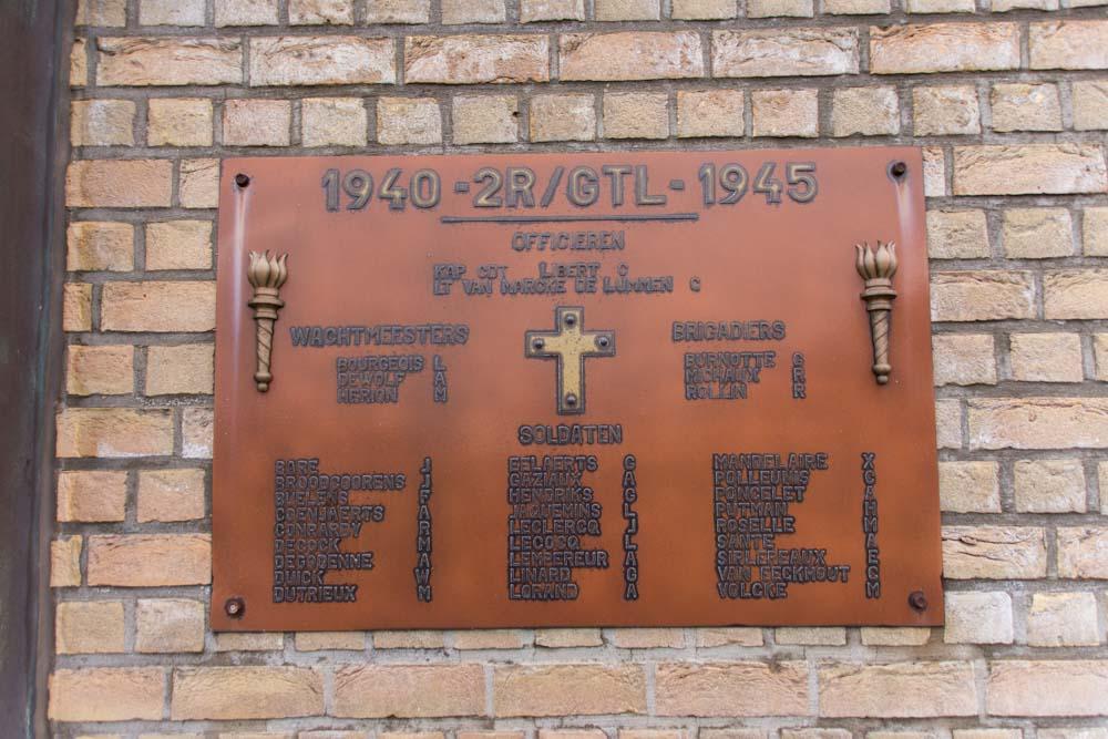 Gedenkplaat 2de  Regiment GTL