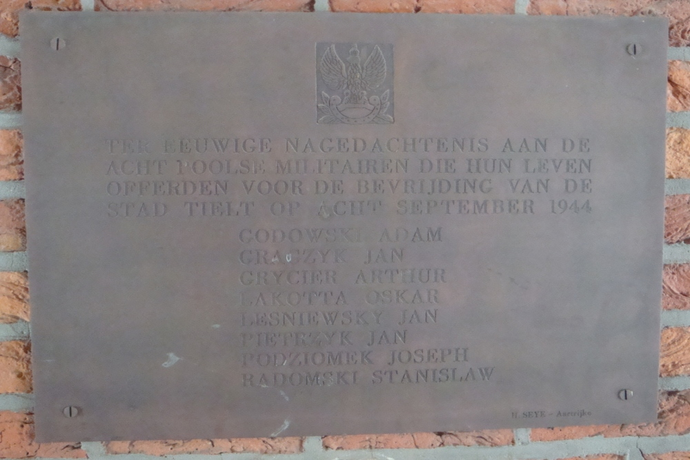 Commemorative Plate Fallen Polish Soldiers Tielt