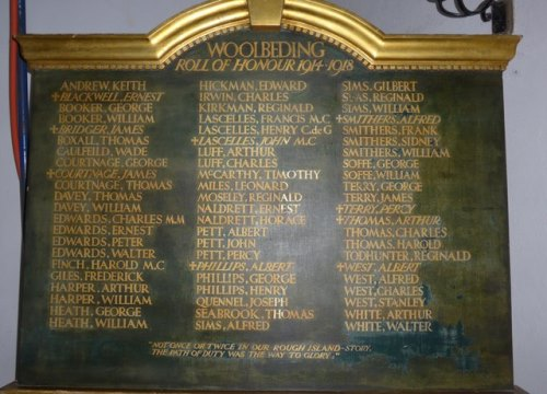 Roll of Honour All Hallows Church