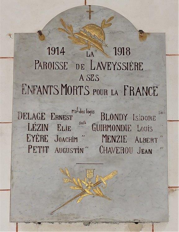 World War I Memorial Parish of Laveyssière