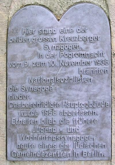 Plaque Synagogue Kreuzberg