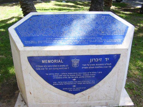 Memorial Italian Bombardments Tel Aviv