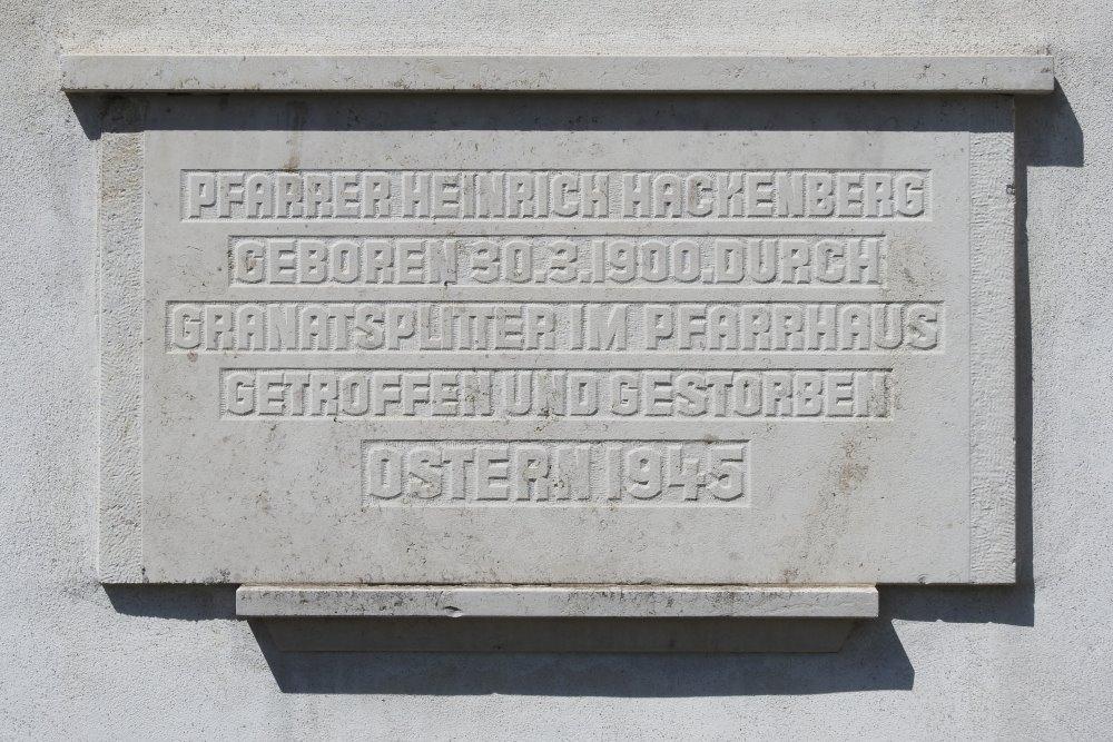 Plaquette Pfarrer Heinrich Hackenberg