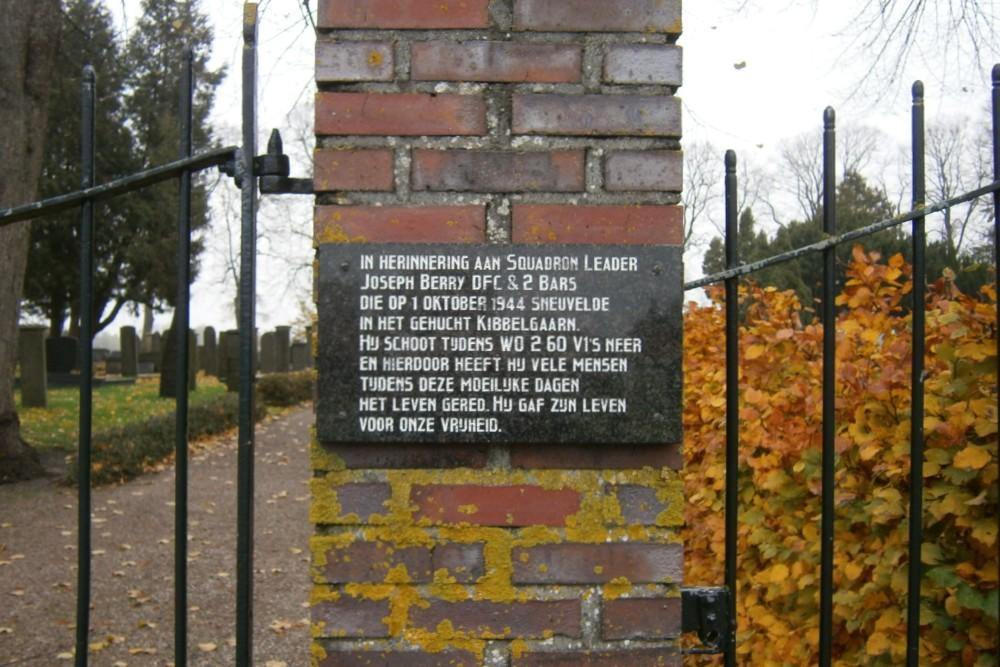 Plaque RAF Joseph Berry Protestant Cemetery Scheemda