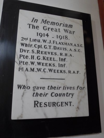 War Memorial St. Peter in the Wood Church Appleshaw