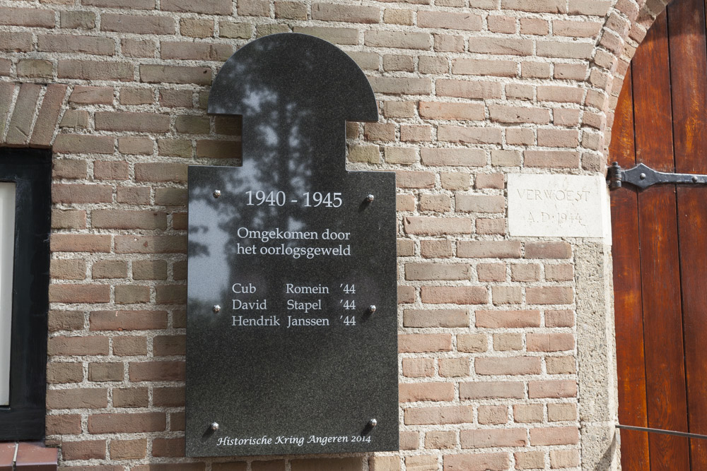 Plaque Victims World War Two Angeren