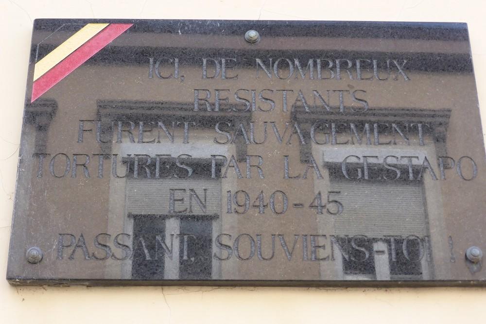 Gedenkplaat voor de Weerstanders Gemarteld door de Gestapo
