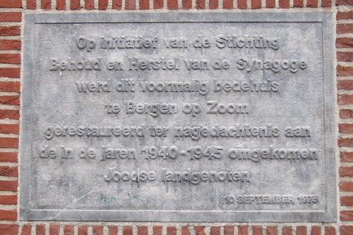 Plaque former Synagogue Bergen op Zoom