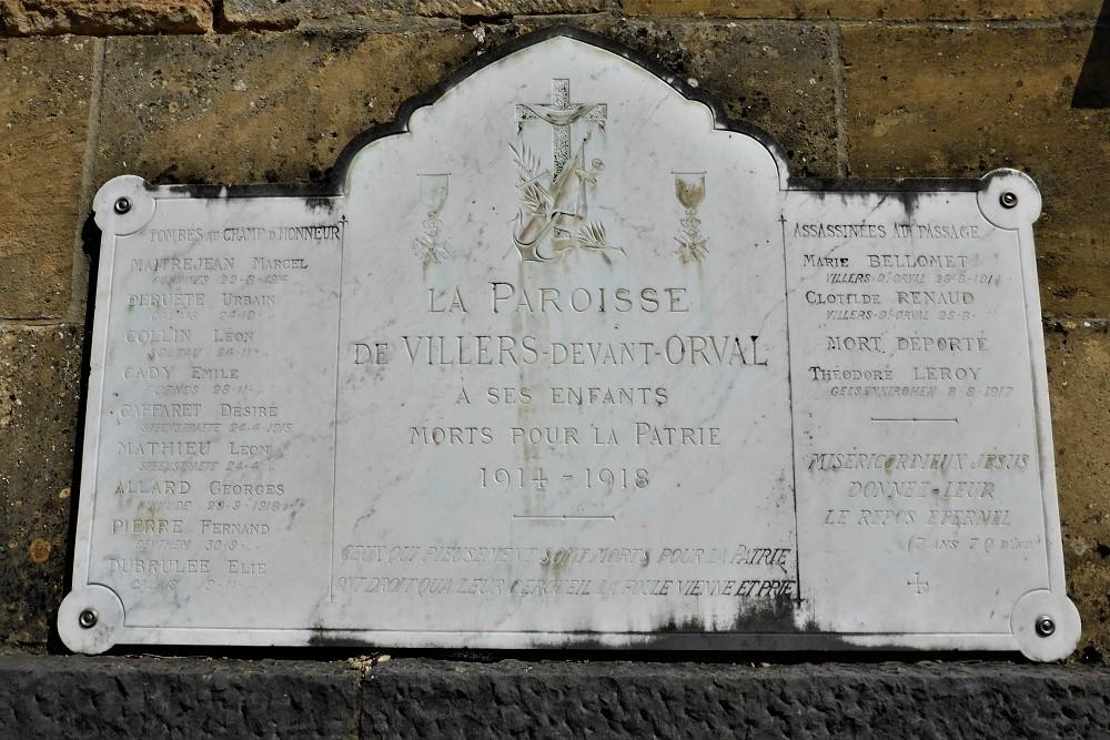 Plaque Villers-devant-Orval