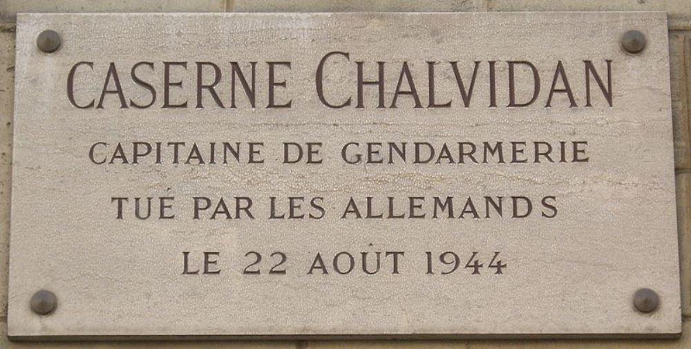 Plaque Caserne Chalvidan