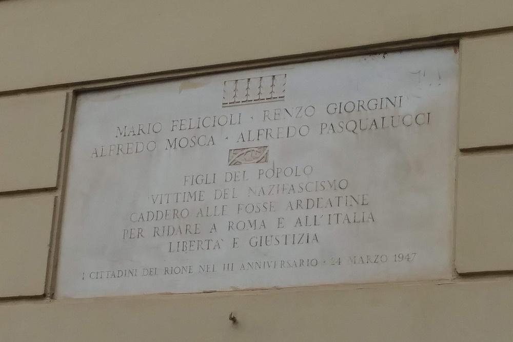 Plaquette Mario Felicioli, Renzo Giorgini, Alfredo Mosca, en Alfredo Pasqualucci