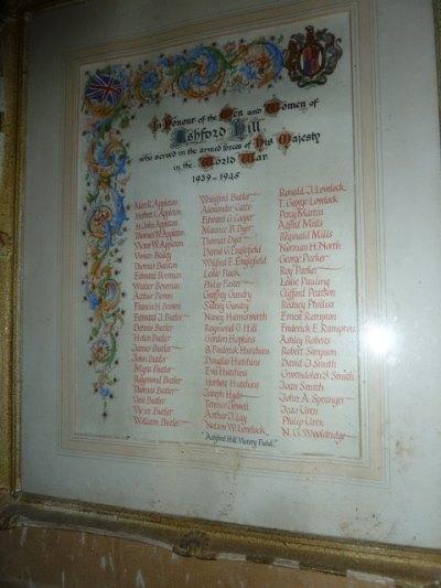 Rolls of Honour St. Paul Church Ashford Hill