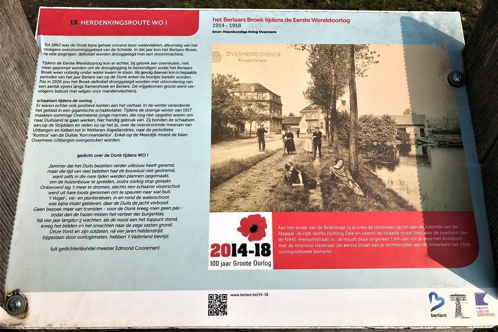 Herdenkingsroute 100 jaar Groote Oorlog - Informatiebord 13