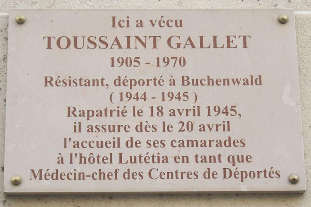 Plaquette Toussaint Gallet