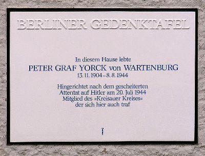 Plaque Peter Graf Yorck von Wartenburg
