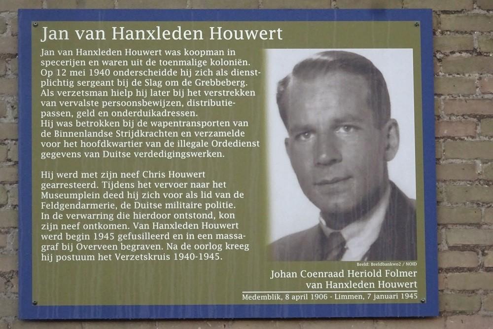 Memorial Plates Slotermeer Van Hanxleden Houwertstraat