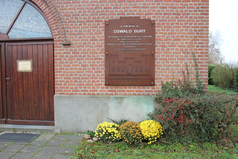 Gedenkplaat Oswald Bury Verzetsstrijder Nivelles