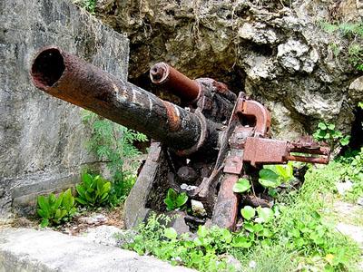 Remains Japanese 140mm Type III Naval Gun