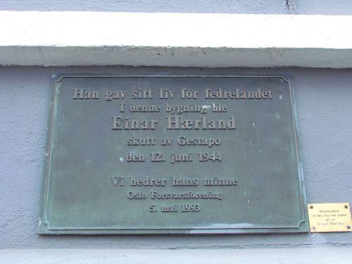 Plaquette Einar Hærland Uranienborg