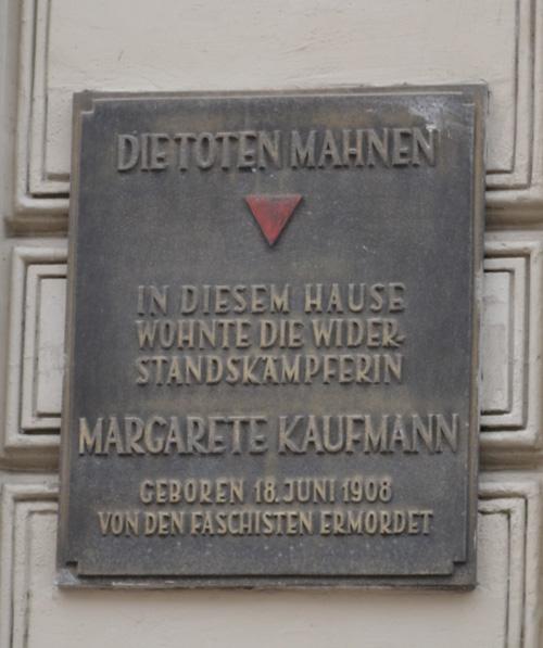 Plaque Margarete Kaufmann