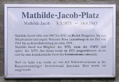 Plaquette Mathilde Jacob