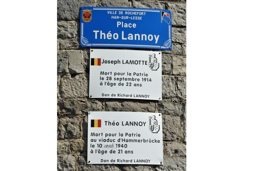 Plaque for Joseph Lamotte en Théo Lannoy