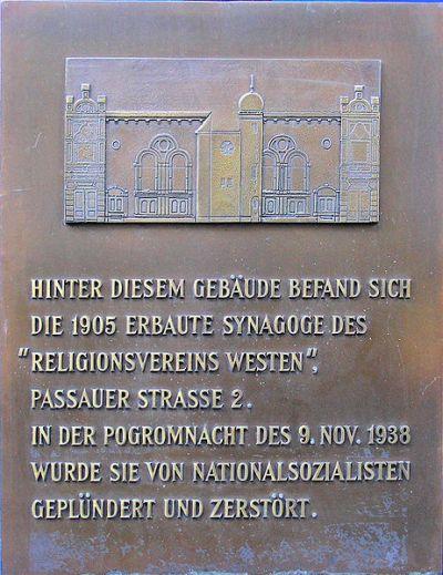 Plaque Synagogue Religionsverein Westen
