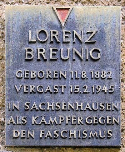 Plaque Lorenz Breunig