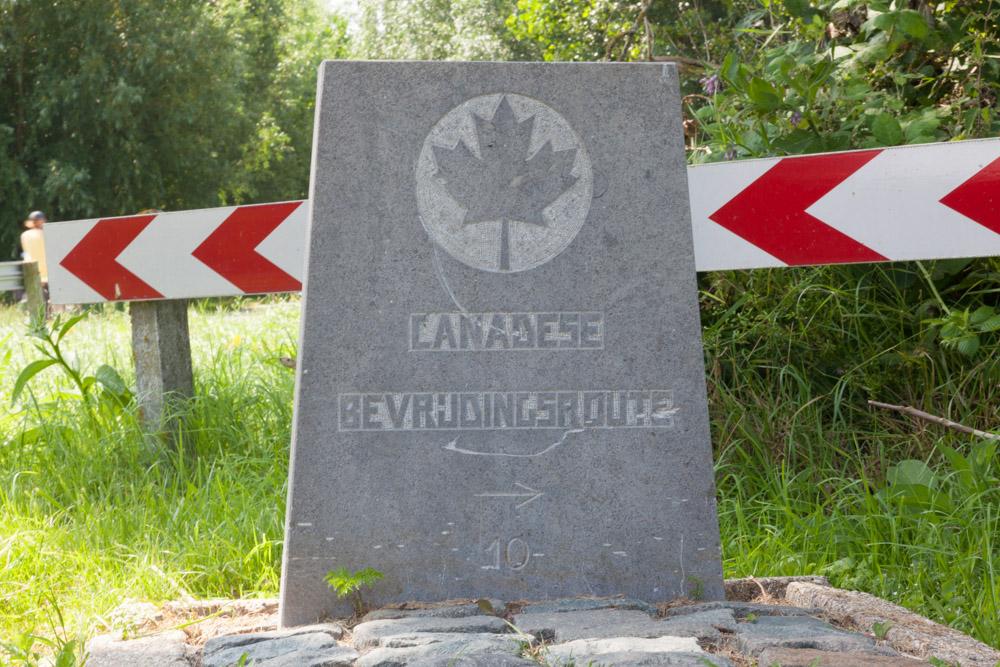 Wegmarkering nr. 10 Canadese Bevrijdingsroute
