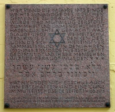 Plaque Destroyed Synagogue
