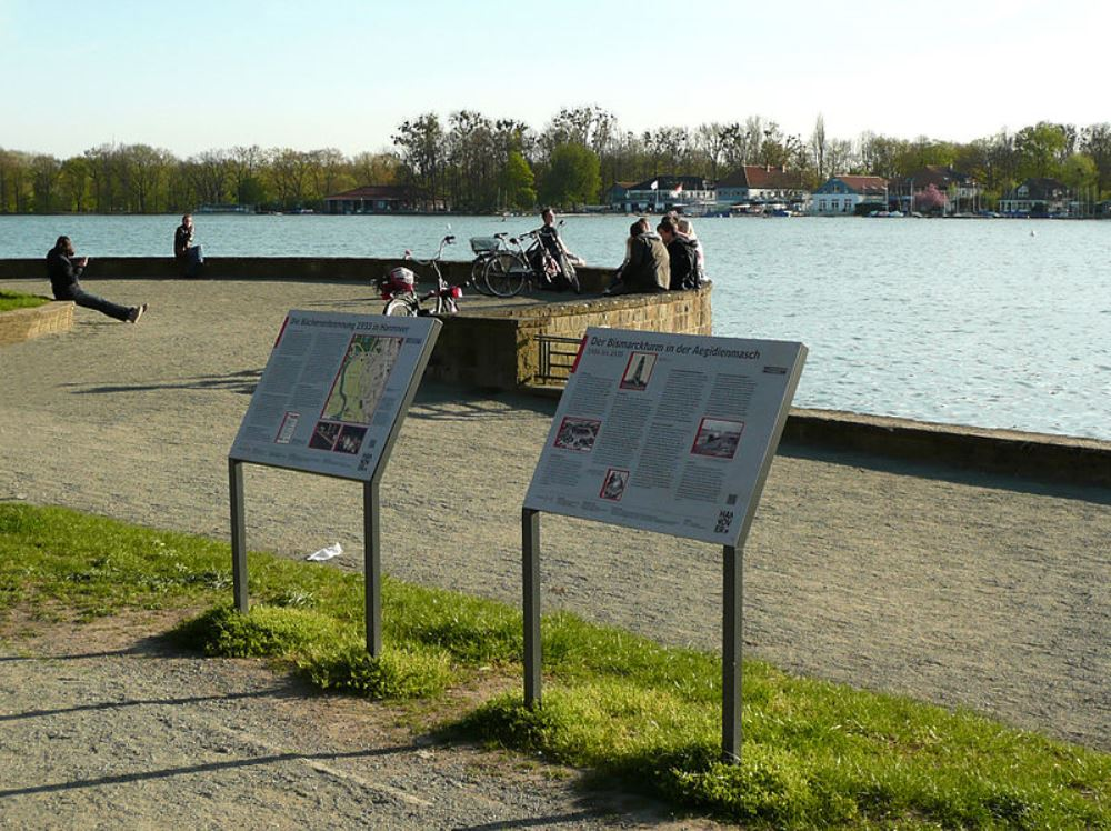 Information Signs Bismarck-tower and Book-burning Hanover