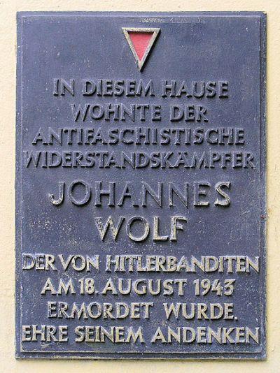 Plaque Johannes Wolf