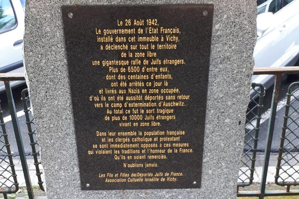 Monument Razzia 26 Augustus 1942 Vichy