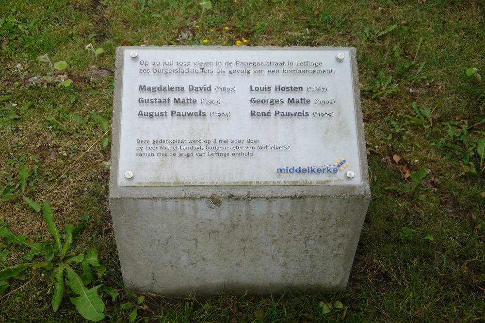 Commemorative Plate Civilian Casualties Leffinge