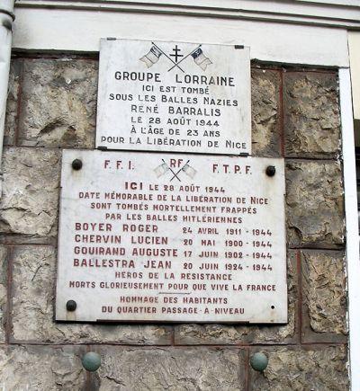 Memorial Killed Members of the Resistance Nice