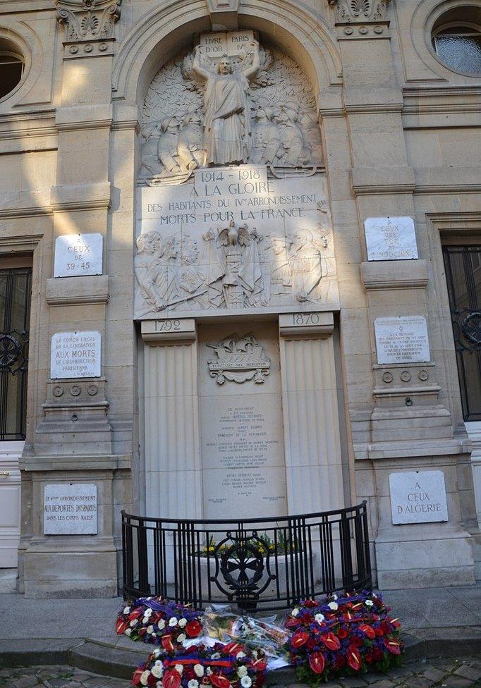Oorlogsmonument 4e Arrondissement Parijs