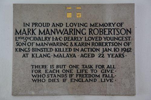 Plaque Mark Manwaring Robertson