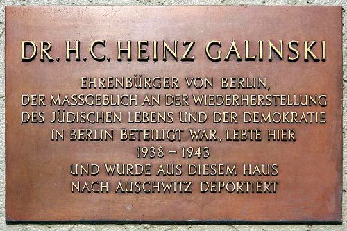 Plaque Heinz Galinski