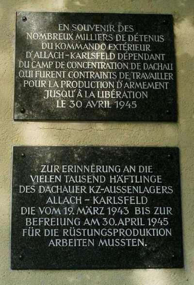 Plaques Camp Allach-Karlsfeld