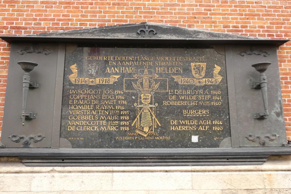 Oorlogsmonument Lange Violettestraat Gent
